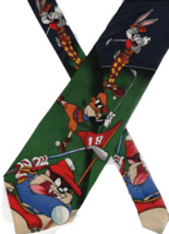 Necktie Novelty 4x60 LOONEY TUNES MANIA silk golf Bugs Daffy Taz vintage 1990s - $16.38