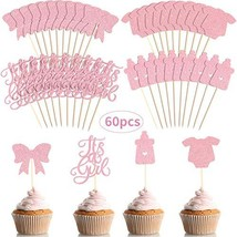 60 Pieces A Girl Cupcake Toppers Baby Shower Cake Cupcake Toppers Picks for Birt
