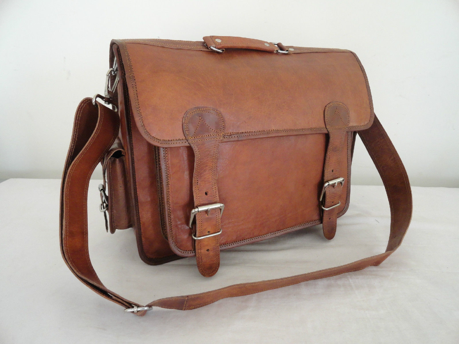 "17"" Real Brown Leather Briefcase Macbook Laptop Satchel Office MENS BAG EDH"