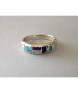 Turquoise Inlay Sterling Silver Band Ring Handcrafted Native American Un... - $225.00