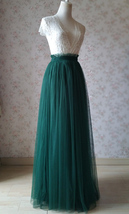 DARK GREEN High Waist Tulle Maxi Skirt Green Wedding Bridesmaid Tulle Maxi Skirt image 3