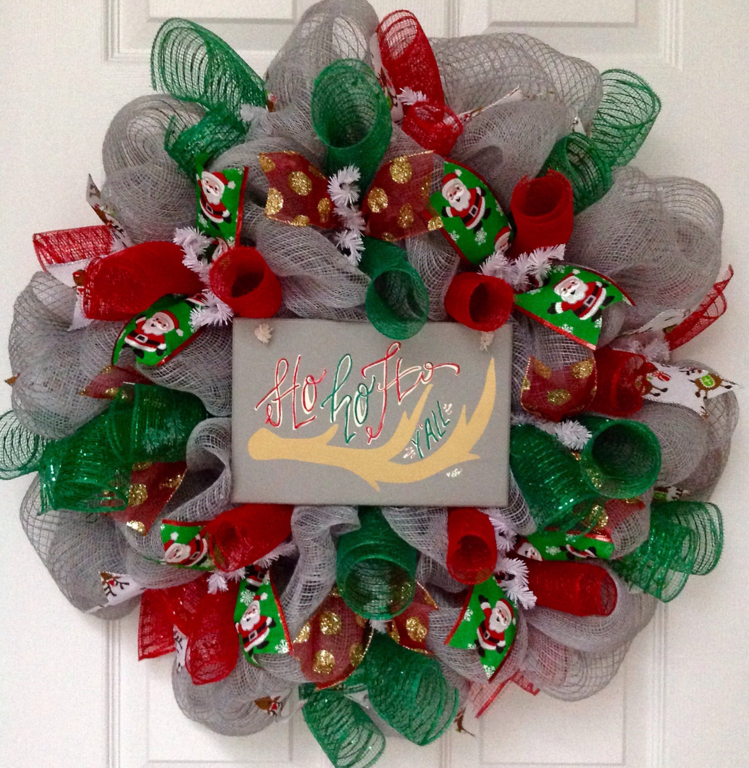 Primary image for Ho Ho Ho Y'all Christmas Wreath with Reindeer Antlers Handmade Deco Mesh