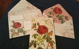 Punch Studio gold embossed Scarlet Rose card- MONOGRAMMED A-wow envelope - $3.15