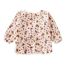 Lovely Bear Cotton Waterproof Sleeved Bib Baby Feeding Bibs Art Smock, 2 PCS