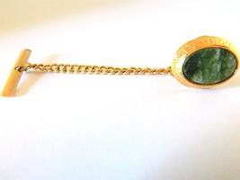 Vtg Men's Oval Tie Tack Pin Retro Tie Formal Wear Accessories Green Marb... - $18.58