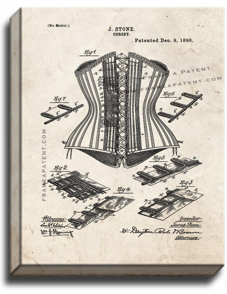 Primary image for Corset Patent Print Old Look on Canvas