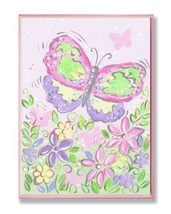 The Kids Room by Stupell Large Pastel Butterfly and Flowers Rectangle Wa... - $38.97