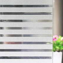 Bloss Non-Adhesive White Lines Privacy Window Film,Frosted Decorative Cl... - $10.92