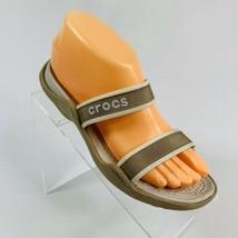 Crocs Women's size 7 Tan Double Strap Slip On Waterproof Sandals - $19.79