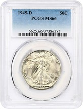 1945-D 50c PCGS MS66 - Walking Liberty Half Dollar - $135.80
