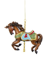 KURT ADLER RESIN TRADITIONAL TAN CAROUSEL HORSE CHRISTMAS ORNAMENT C8830 - $13.88