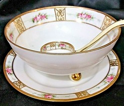 Vintage Nippon Hand Painted Porcelain Footed Bowl W Saucer Plate & Spoon Scoop - $34.60