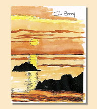 Handmade I'm Sorry Romance Watercolor Card With Ocean, Rocks & Sun Orang... - $4.25
