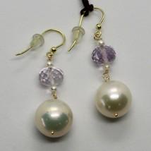 Boucles D'Oreilles en or Jaune 18K 750 Perles Eau Douce et Améthyste Rose Italy image 1
