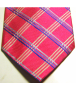 """BROOKS BROTHERS Rich Pink White Blue Plaid Silk Long 61"""" Tie - $29.99"""