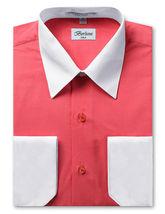 Berlioni Italy Men's Premium Classic White Collar & Cuffs Two Tone Dress Shirt image 8