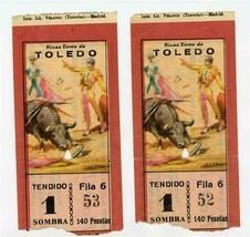 Plaza Toros de Toledo Bull Fights Pair of Tickets Spain 1950's - $17.82