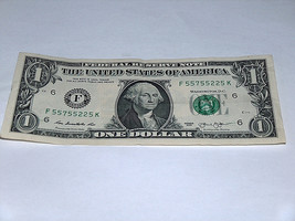 2013 $1 Dollar Bill US Bank Note 5-5's Pairs 2 5 55755225 Fancy Serial N... - $13.78