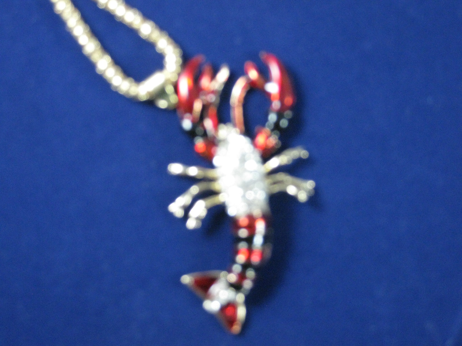 NEW Betsey Johnson Rhinestone Red & Black Lobster Pendant on Long Chain