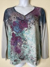 Appropriate Behavior Womens Size XL Floral Graphic Blouse Long Sleeve V ... - $14.85