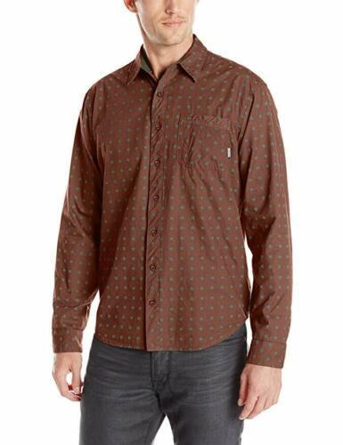 Small SUPERbrand Men's Porch Long-Sleeve Woven Shirt Button Down Maroon NEW