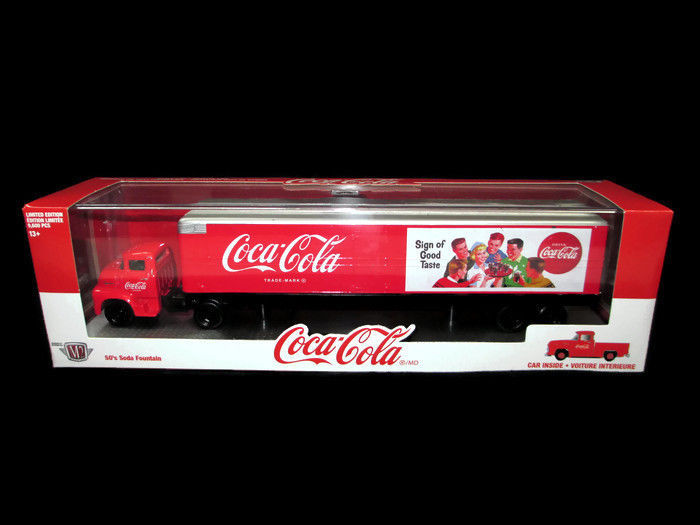 Coca-Cola M2 Machines Car Carrier Truck 1:64 with 1956 Ford F100 Inside NEW