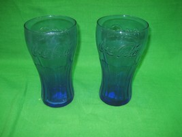 "Pair Of Vintage Cobalt Blue Coca Cola Soda Glass Cups 6.25"" Tall 3.25"" Diameter - $12.16"