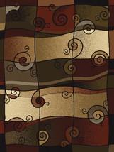 "8x11 (7'10"" x 10'6"") Modern Contemporary Geometric Swirls Black Rust Area Rug - $199.00"