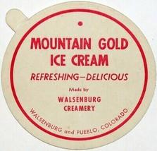 Vintage lid MOUNTAIN GOLD ICE CREAM Walsenburg Creamery Pueblo Colorado ... - $6.29