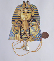 Necklace Egyptian Scarab Pendant White Milk Glass And GF Chain King Tut ... - $38.00
