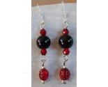 Handmade Gemstone Earrings Black Onyx Czech Glass Ladybugs Crystals .925 Hooks