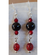 Handmade Gemstone Earrings Black Onyx Czech Glass Ladybugs Crystals .925 Hooks  - €12,82 EUR