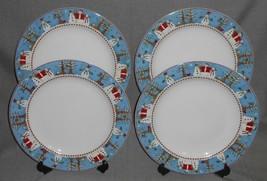 Set (4) Sakura Snowman Pattern Dinner Plates Holiday - Christmas - $49.49