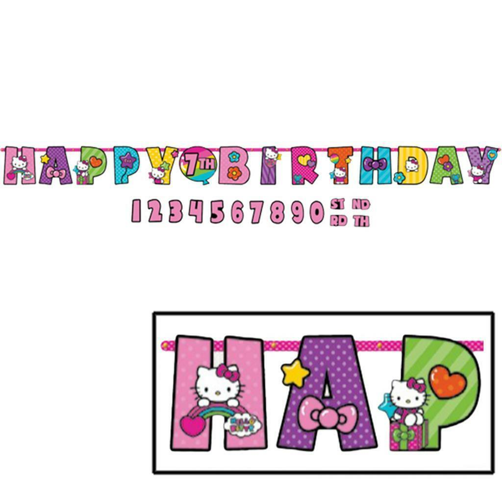 Hello Kitty Rainbow Birthday Party Add an Age Jumbo Banner 1 Per Package New - $7.87