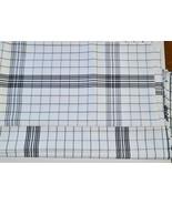 """11 Yds Vintage Ralph Lauren White Black Plaid Linen Fabric 56"""" - $79.90"""
