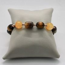 Bracelet in Sterling Silver 925 Laminate Rose Gold with Tiger's Eye Jade Chal... image 5