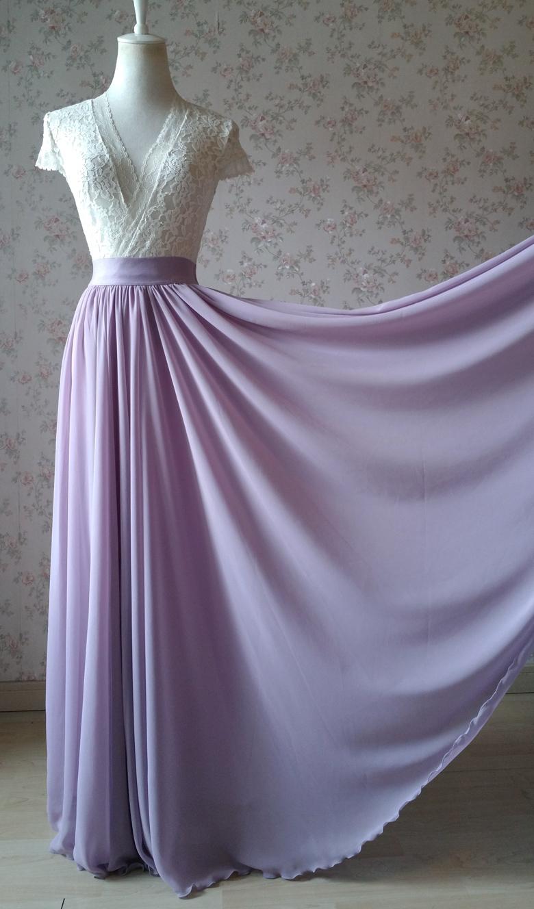 Chiffon maxi skirt wedding lavender 780 6