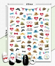 Nail art 3D stickers decal pink red blue hats mustaches hearts glasses C... - $3.09