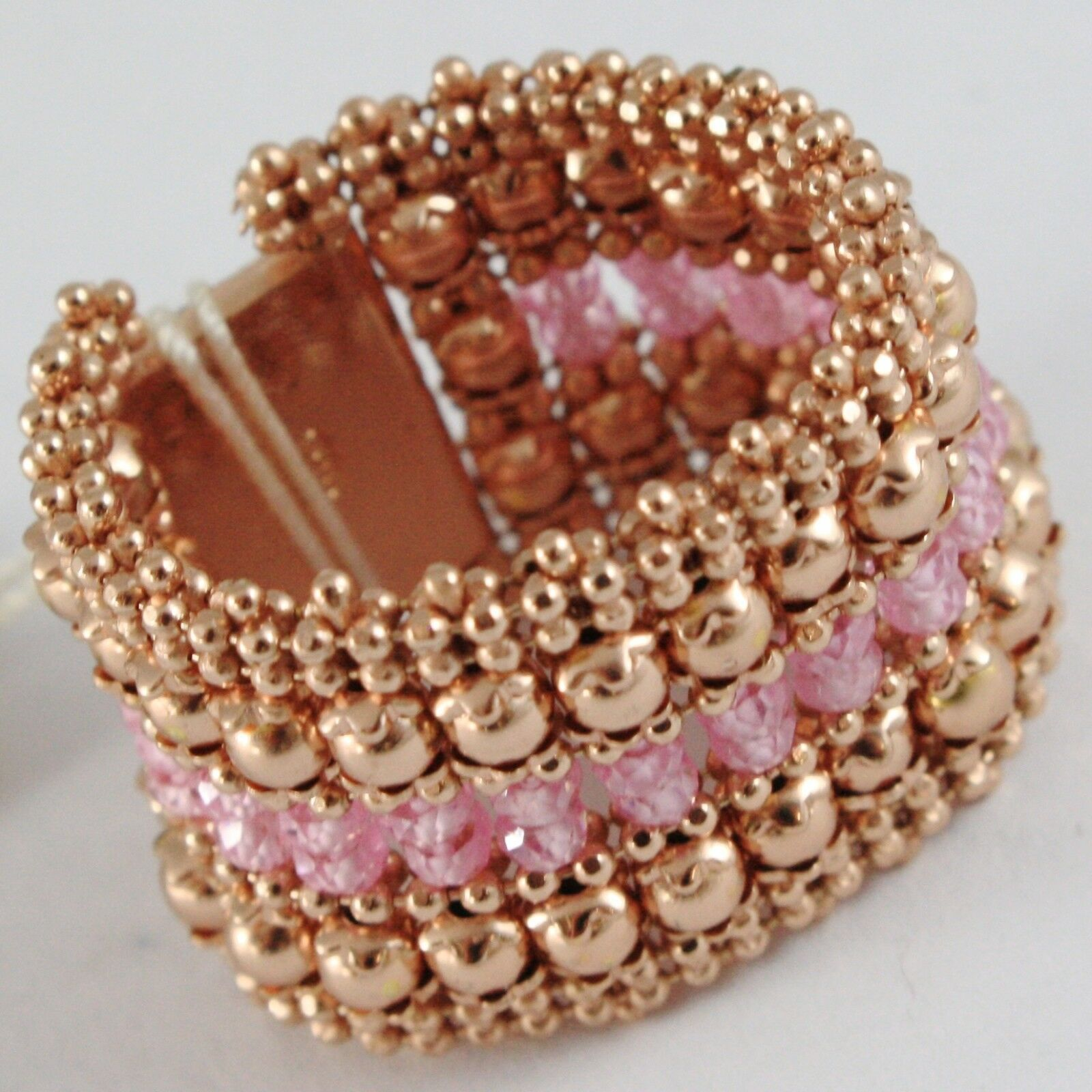925 SILVER RING GOLD PLATED PINK, KNIT AND BALLS, PINK QUARTZ