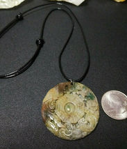"Necklace, Yin-Yang Symbol W/ Dragon Hand Carved Natural Jasper Women Men ""B"" image 5"