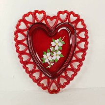 Vintage Westmoreland Glass Heart Plate Reticulated Hand Painted Cherry Blossom - $34.99