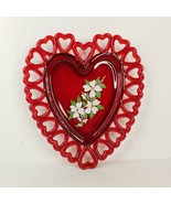 Vintage Westmoreland Glass Heart Plate Reticulated Hand Painted Cherry B... - $34.99