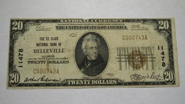 $20 1929 Belleville Illinois IL National Currency Bank Note Bill! Ch. #1... - $186.99
