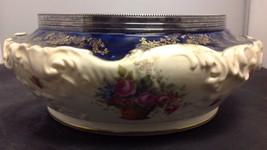 "1902-1922 Antique Royal Doulton England 10.5"" Salad Bowl Cobalt w/Metal Rim - $77.40"