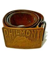Vtg 80s Boy Scouts Philmont Brass Buckle Leather Belt Cimarron NM New Mexico BSA - $51.08