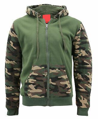 Men's Camo Zip Up Sherpa Hoodie Fleece Hunting Sweater Jacket w/ Defect - 2XL