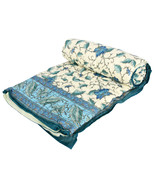 Home Furnishing Bedding Quilt Bedspread Blue Exotic Leaves single Razai - $34.00