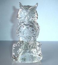 """Art Glass OWL Hand Made Sculpture Figurine Sculpted 6.5""""H Clear Made/Pol... - $19.90"""
