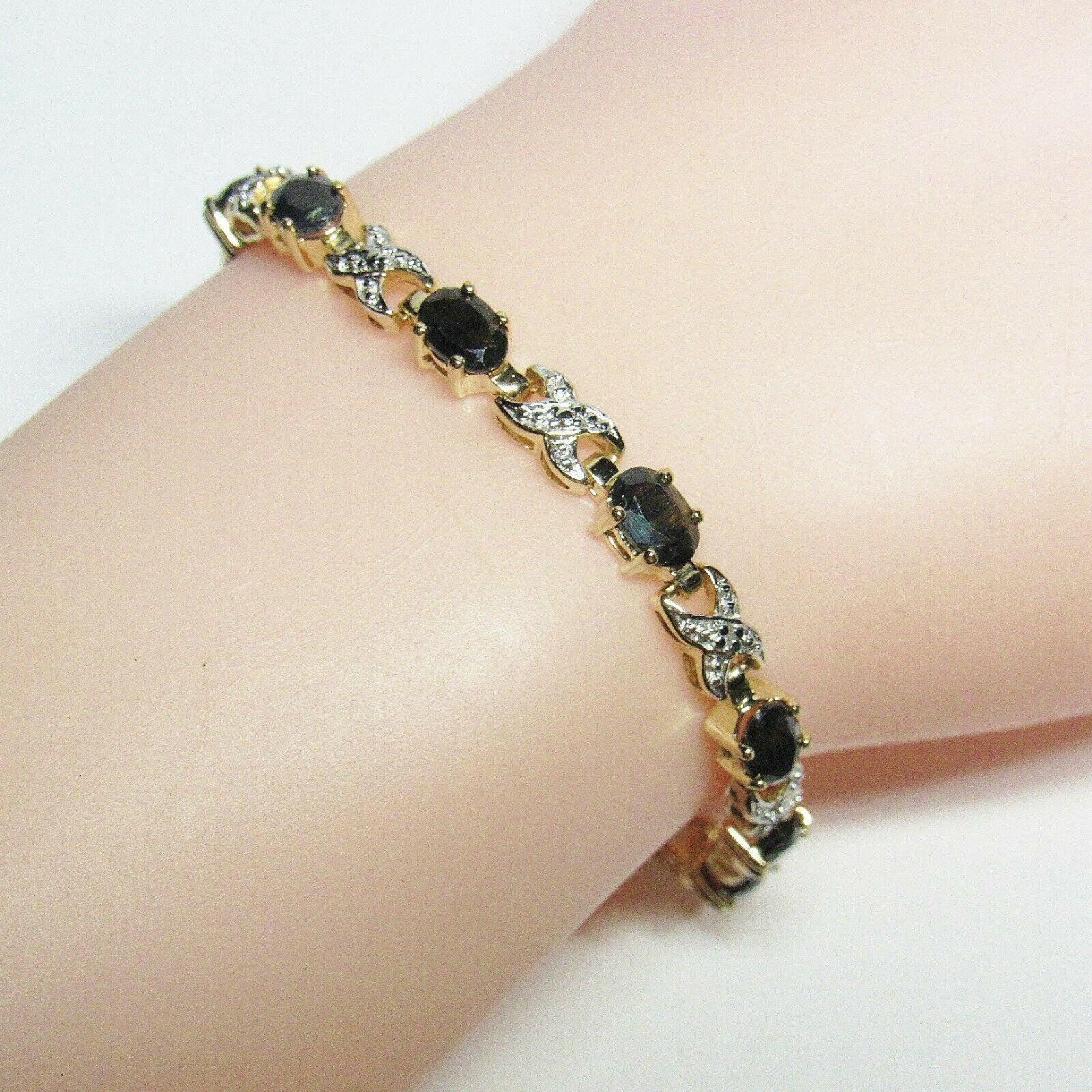 "HSN Technibond Gold Sterling Silver Sapphire Diamond Gemstone Tennis 7"" Bracelet image 6"
