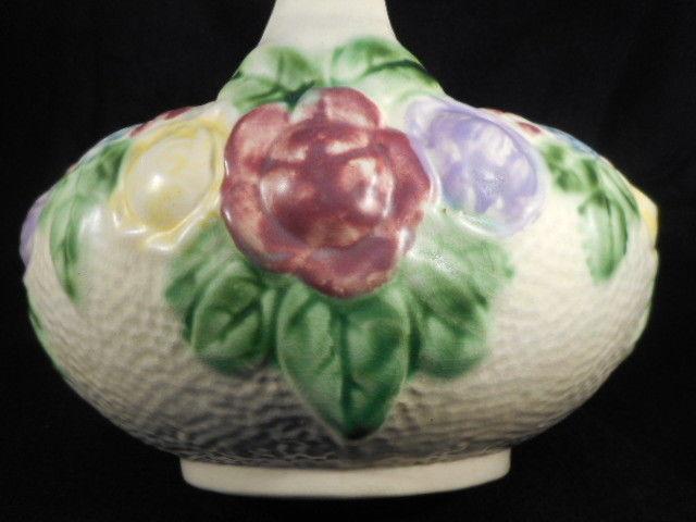 """Antique Roseville Pottery Rozane Ivory Floral Handled 8"""" Basket"""